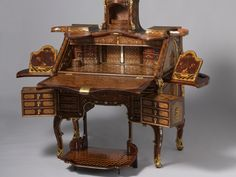 """""""Writing Desk"""" by Abraham Roentgen, made in Germany. It is on loan from the Rijksmuseum, Amsterdam for the Metropolitan Museum of Art show """"Extravagant Inventions: The Princely Furniture of the Roentgens,"""" which runs through Jan. Rustic Furniture, Luxury Furniture, Vintage Furniture, Antique Furniture, Furniture Design, Outdoor Furniture, European Furniture, Antique Desk, Western Furniture"""