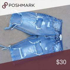 Signature 8 Distressed Denim Shorts These Distressed Denim Shorts have never been worn. Excellent condition. signature 8 Shorts Jean Shorts