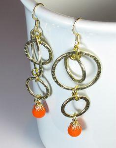 Modern Dangle #Earrings in Tangerine Neon Jewelry #handmade by BluKatDesign