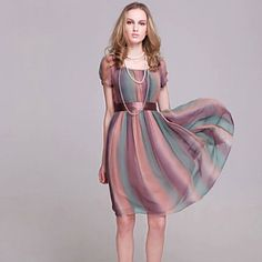 Women's Sexy Beach Casual Party Plus Size Colorful Silk Dress with Belt – EUR € 29.99