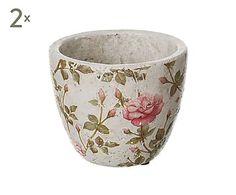 Set de 2 maceteros de cerámica Roses