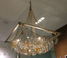 Amazing chandelier seen at Henredon furniture store. Looks like a fish net caught with huge crystals! Crystal Light Fixture, Light Fixtures, Decoration Pirate, Fish Net Decor, Steampunk Bedroom, Driftwood Chandelier, Seaside Decor, Cool Lighting, Lighting Ideas
