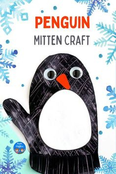 This penguin mitten craft is simple enough for preschoolers and includes a template to make prep super easy for you too. | Winter crafts for kids #kidscrafts #booksandgiggles #preschool