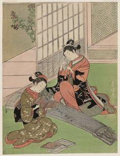 坐鋪八景 琴路の落雁 Descending Geese of the Koto Bridges, from the series Eight Views of the Parlor (Zashiki hakkei)