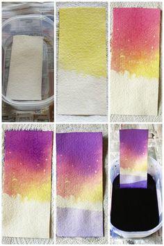 Dip-dyed landscapes. make for some cool bookmarks