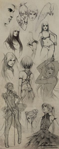 Sketches VIII by `Charlie-Bowater on deviantART