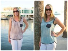 Perfect Spring & Summer Tanks! Pale Blue or Pale Pink with Touches of Grey & Cute Little Pockets. Pair with shorts, skinnies, or jeans! #spring #fashion #clothing #outfits #pink #blue #grey #pockets #springtime #summer   *Make sure to choose your color & size of choice! *Fits True to Size