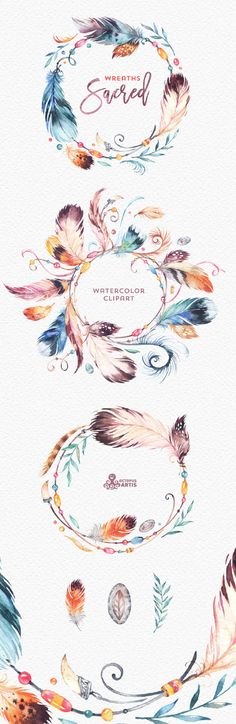 This set of high quality hand painted Native Feathers Clipart in High…