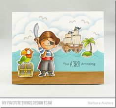 Party Like a Pirate stamp set and Die-namics, Ocean Waves Die-namics, Cloud Stencil - Barbara Anders #mftstamps