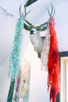 my yarn hangs in Lexi's studio!