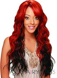 New Glamourous Long Wavy Red No Bang African American Lace Wigs for Women 24 Inch