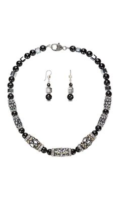 Jewelry Design - Single-Strand Necklace and Earring Set with Swarovski® Crystals, Black Onyx Gemstone Beads and Glass Rhinestone…