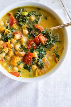 Slow Cooker Curry Stew with Chickpeas, Sweet Potatoes + Kale