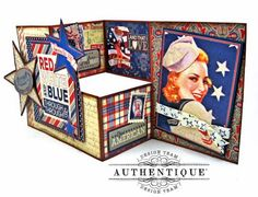 Red White and Blue Through and Through Step Out Card Heroic by Kathy Clement Product by Authentique Photo 1