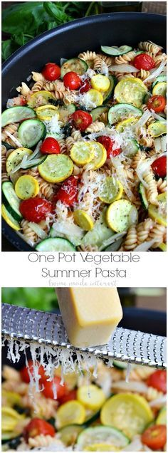 This One Pot Summer Vegetable Pasta is a quick and easy summer dinner recipe that uses fresh summer vegetables like tomatoes, summer squash and zucchini. The pasta cooks with the vegetables in one pot for easy clean up so you have more time to spend on summer fun with the family. #DinnerOnDemand #ad @Barilla US