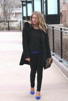 Winter chic outfit. black coat, blue pumps