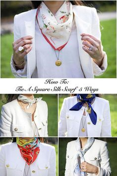 1000 Ideas About Square Scarf Tying On Square how to tie a square silk scarf 5 ways about how to tie Ways To Tie Scarves, Ways To Wear A Scarf, How To Wear Scarves, Silk Scarves, Metallic Scarves, Square Scarf How To Wear A, Wearing Scarves, Silk Neck Scarf, Scarf Knots