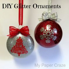 After last week's floating photo Christmas ornaments tutorial, you guys have basically been banging down my door for a glitter ornament tutorial and so.today's your lucky day! And some big news toda Silhouette Projects, Silhouette Cameo, Silhouette School, Photo Christmas Ornaments, 3d Christmas, Diy Christmas Gifts, Christmas Balls, Homemade Christmas, Beautiful Christmas