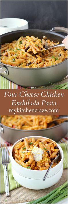 Four Cheese Chicken Enchilada Pasta - My Kitchen Craze - Ad ~ Four Cheese Chicken Enchilada Pasta ~ www.mykitchencraz… ~ Have an easy and delicious meal on your table within 10 minutes. Quick, easy and a family favorite! Couscous, Chicken Enchilada Pasta, Chicken Pasta, Chicken Enchiladas, Fettucine Alfredo, Mets, Quick Meals, Quick Casseroles, 10 Minute Meals
