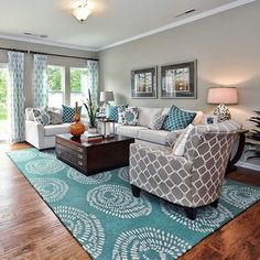 We love the way the interior designers at Mary Cook Associates featured a @lottajansdotter for Surya rug in this living space (DCR-4010). #suryaspaces