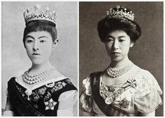 The Meiji Scroll Tiara ~ JAPAN One of the oldest (perhaps the oldest) tiaras currently in use in the Japanese imperial collection is this one: a diamond tiara with base of scrolls that support a series of large single diamonds. Those single diamonds can be removed, and the tiara can be worn without them (as seen on Empress Kōjun below) or with a series of diamond star brooches attached (as seen on Empress Shōken).