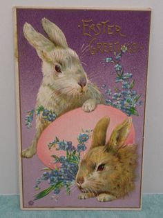 ANTIQUE 1900 S EASTER POSTCARD EASTER BUNNY RABBITS EMBOSSED DIVIDED UNPOSTED
