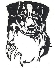 "Dog Rubber Stamps - Australian Shepherd-8E Size: 1-1/2"" W..."