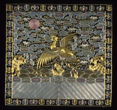 Frontside Court Insignia Badge (Buzi) for a Civil Official of the 4th Rank (Wild Goose), Qing dynasty (1644-1911), circa 1900-1910. Description from pinterest.com. I searched for this on bing.com/images