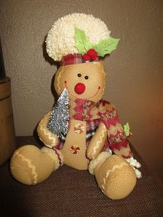 Country Primitive Plush Gingerbread Doll w Christmas Tree Glittered Rustic Decor #hhw