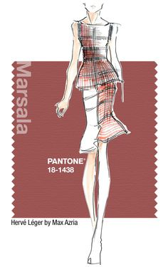 Hervé Léger in Pantone Marsala - SPRING 2015 PANTONE's Fashion Color Report| Be Inspirational❥|Mz. Manerz: Being well dressed is a beautiful form of confidence, happiness & politeness