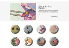 Colección de chapas que Vanesa Domingo expuso en la primera convocatoria de ARTtoGo organizada por PinPonGo