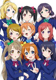 """""""Ayase Eli"""" """"Hoshizora Rin"""" """"Koizumi Hanayo"""" """"Kousaka Honoka"""" """"Minami Kotori"""" """"Nishikino Maki"""" """"Sonoda Umi"""" """"Toujou Nozomi"""" """"Yazawa Nico"""""""