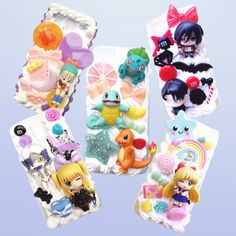 Choose from your favorite anime characters and surround them with a combination of pretty stars, bows, hearts and sweets to create a super kawaii phone case. The possibilities are endless with results that are out of this world! #pokemon #attackontitan #sailormoon #deathnote #dragonballz