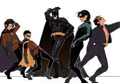 Batman, Nightwing, Red Hood, Red Robin, and Robin. Nightwing, Batwoman, Batgirl, Batman Meme, I Am Batman, Batman Robin, Damian Wayne, Jason Todd, Red Hood