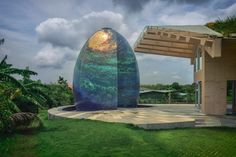 Indian architect Saket Sethi has completed the Sunoo Temple House on the outskirts of Mumbai with a rooftop garden and a private worship space that is designed to evoke a galaxy. India Architecture, Amazing Architecture, Landscape Architecture, Architecture Design, Temple House, Home Temple, Sparkle Tiles, Reclaimed Windows, Custom Dining Tables