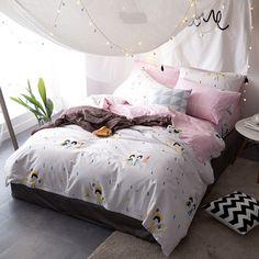 3pcs4pcs cartoon brief queen size duvet cover set satin cotton bedding set king full
