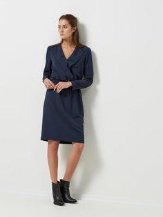 LOOSE FIT - LONG SLEEVED DRESS, Dark Sapphire, large