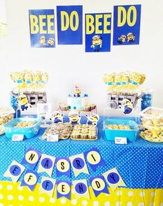 minion themed party, sweet treat table #birthday