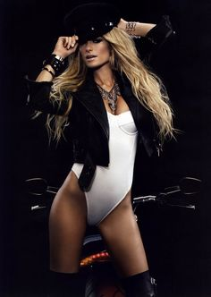 Biker Girll Marisa Miller on a Harley-Davidson V-Rod Muscle Motorcycle (Wallpaper size) #harleyxchange
