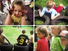 """A very fun outdoor birthday party """"Boy vs. Wild"""". So many great activities and ideas here."""