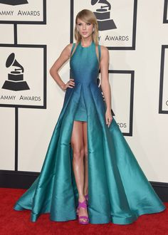 Taylor Swift (we have the faviana dress like this!)
