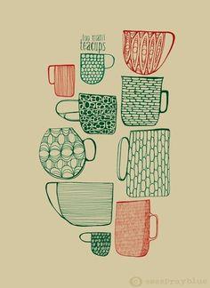 dessin : tasses et mugs, rouge - vert