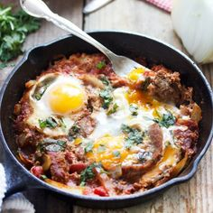 Easy and delicious Shakshuka- perfect for breakfast, brunch, lunch, or dinner! Gluten-free, dairy-free, paleo.
