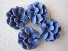 4PCS  Ruffle Coral Flower Cabochons  16mm  Resin  by ZARDENIA, $3.00