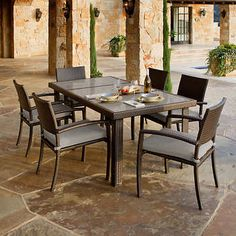 Mainstays Jefferson Wrought Iron 7 Piece Patio Dining Set Seats 6 Walmart