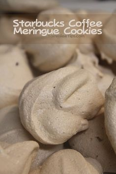 Starbucks Coffee Meringue Cookies ☕ 3 room temperature egg whites, ½ tsp cream of tartar, ¼ tsp salt, 1 tsp vanilla extract, ¾ cup sugar, 1 packet Starbucks VIA Ready Brew