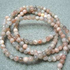 """Peach & Gray Moonstone 4mm Round Stone Beads 15.5"""" Natural Color"""