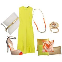 using colors to pull together a new outfit.  Chartreuse dress; orange J Crew necklace - with gold/nude accessories