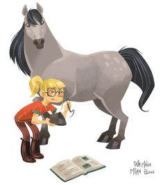The horse is looking down at the girl like, 'Aw she's cute for an amature' XD