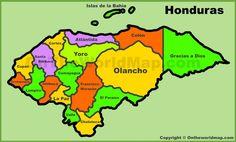 Honduras physical map honduras mission 20232026 pinterest administrative map of honduras gumiabroncs Gallery